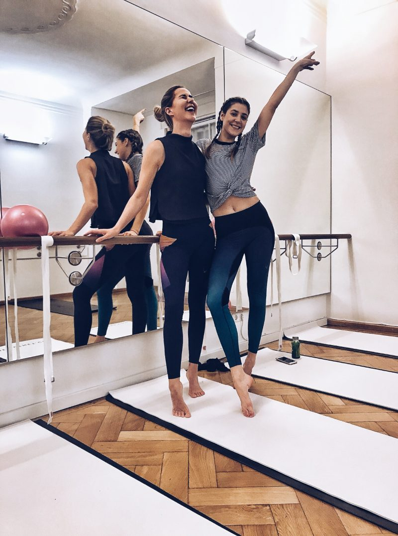 Wearing Lucas Hugh Sports leggings for Barre Fusion Event in Munich