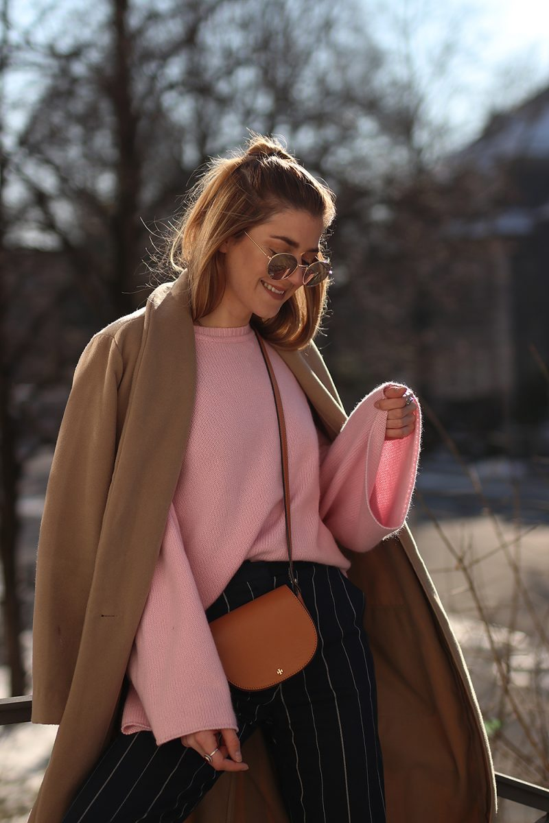 Pink iris and ink cashmere sweater