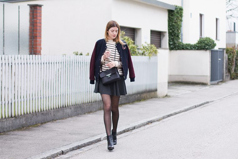 Streetstyle with skirt and college Jacket