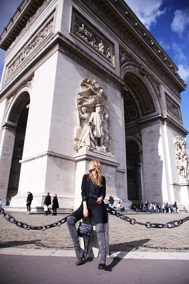 Streetstyle in front of arc de triomphe in paris
