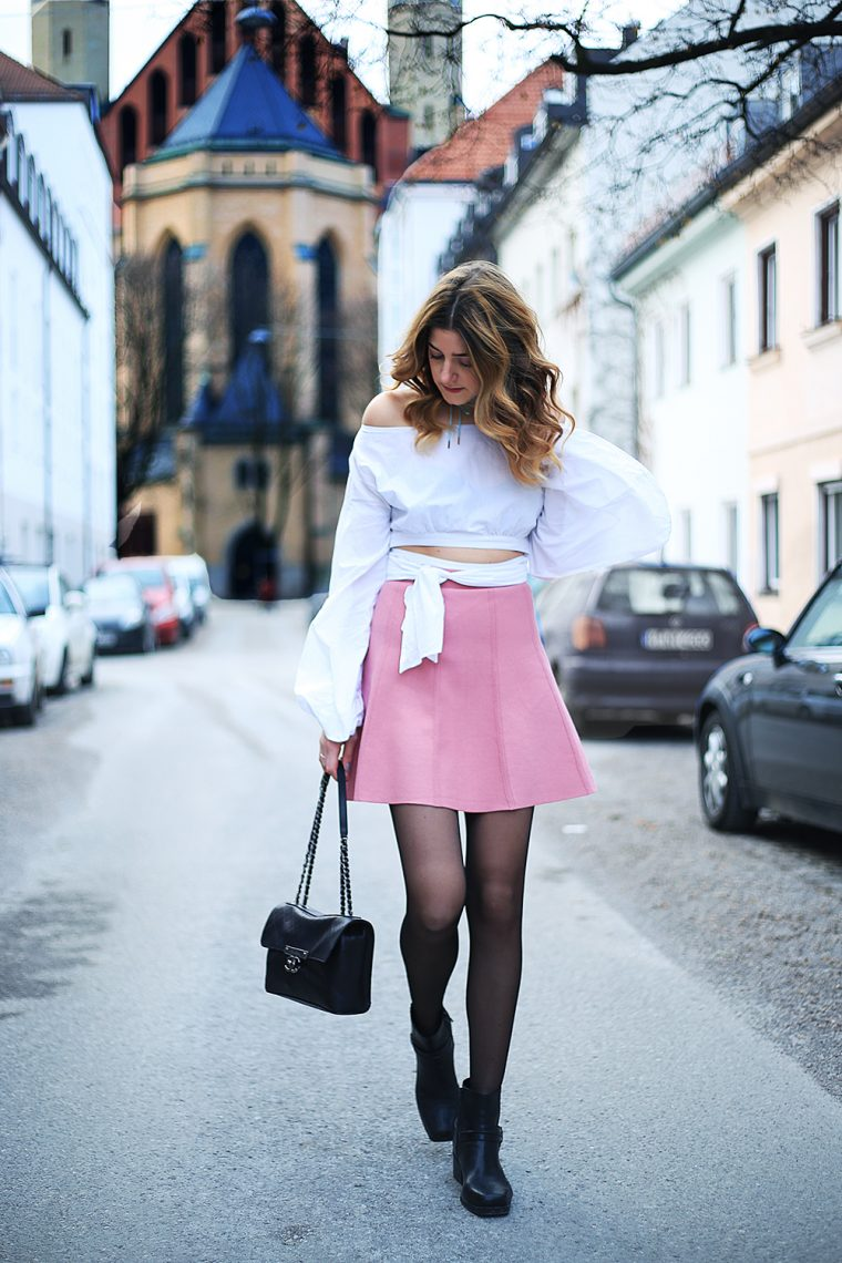Tights - Wolford, Bag- Chanel, Skirt - Zara, Blouse - shein, Shoes - Vagabond(SALE!), Choker - F21,