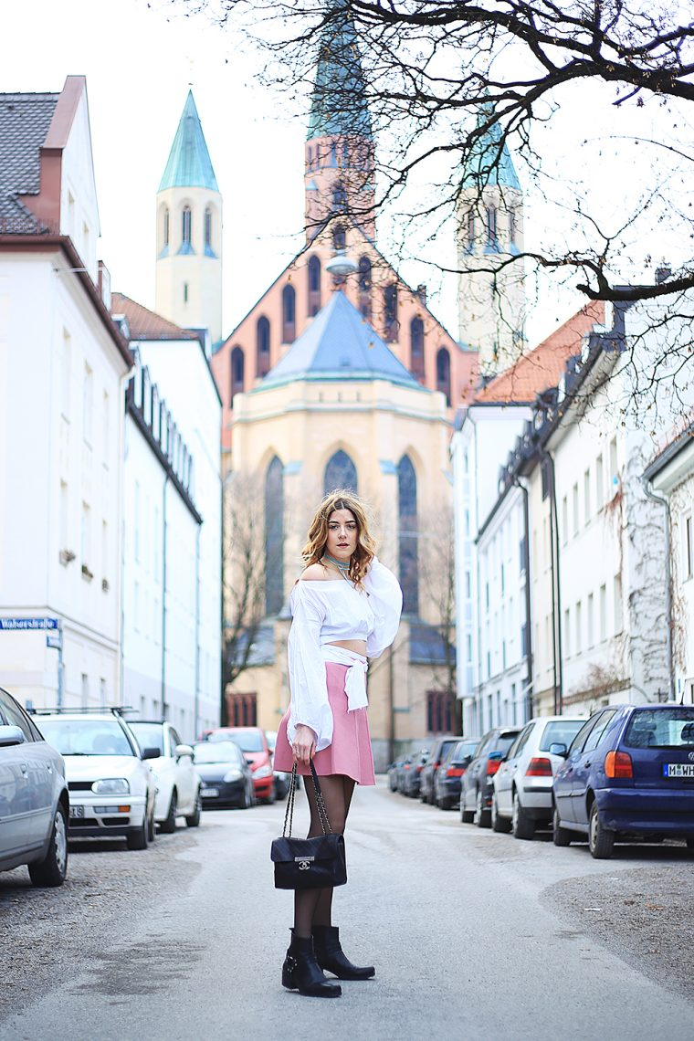 Blouse - shein,  Shoes - Vagabond(SALE!), Choker - F21, Tights - Wolford, Bag- Chanel, Skirt - Zara,