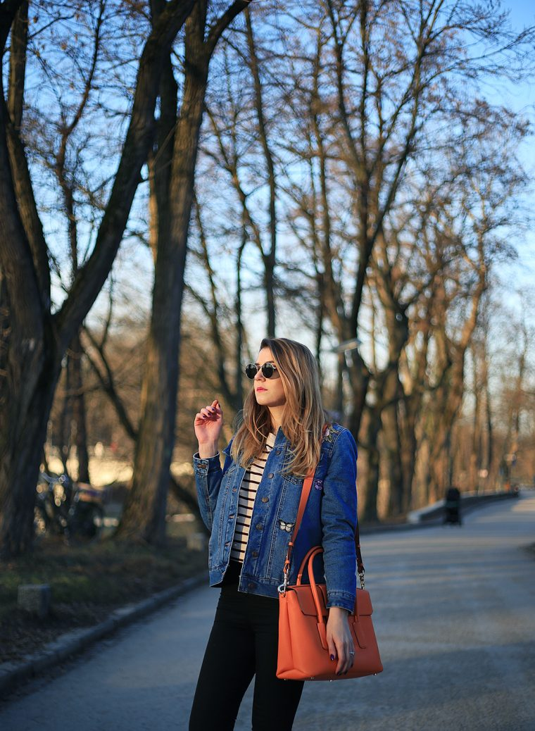 Ebroidered Denim jacket - Bag ESCADA, Jacket NEW LOOK, Shoes SUPERGA, Pants ASOS tall, shirt ZARA (similar)
