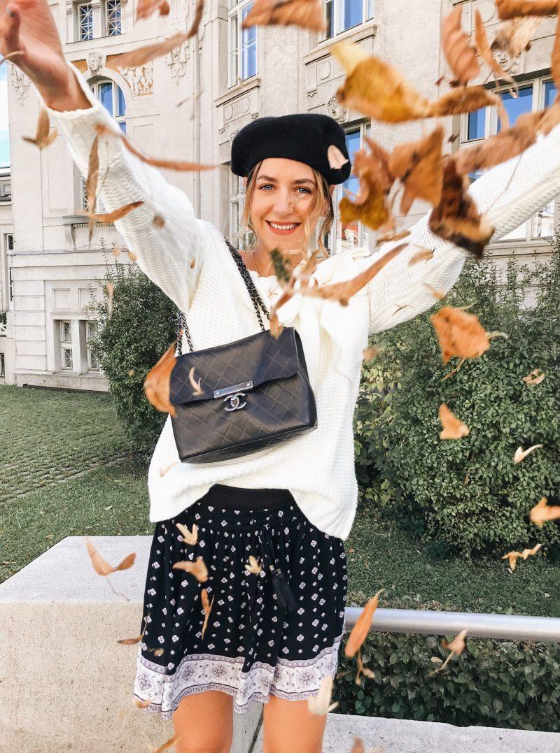 Herbstliches Outfit mit Chaneltasche