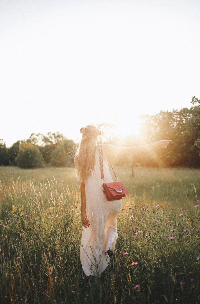 Coccinelle Ambrine Bag, Sunset boho style long white dress. Photoinspo for Instagram