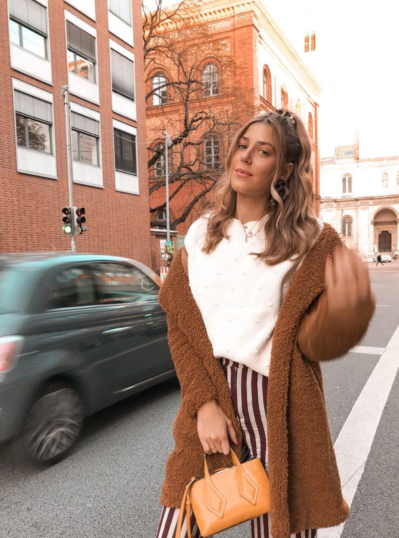 Teddy Mantel. Herbstliches Outfit Modeblog aus München